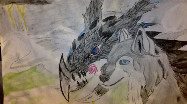 Wolf and Dragon by Slenderbrine123