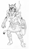 Khajiit Warrior - Sketch by lycanthropeful
