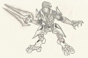 Halo 4 Elite drawing - Customised by SquiggilySquid