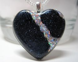 Black w. Silver Stripe Heart by ExperienceDesigns