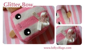 Glitter Bow the kawaii keyring by fuzzy-jellybeans