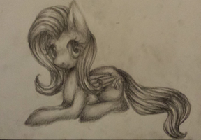 Fluttershy Pencil Drawing by Aschenstern