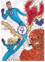 Fantastic Four Sketch Card Set In Color by shawncomicart