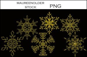 STOCK Snowflakestar png gold by MaureenOlder