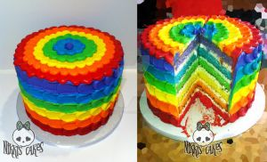 Rainbow Buttercream Petal Cake 2 by Corpse-Queen