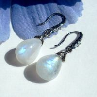 Moonstone Glow Earrings by Gweyeni