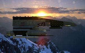 E-Wing over the Eocho Mountains. Remastered by ChrisNs