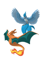 Charizard v Articuno by Shadow-and-Flame-86