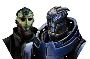Thane Krios and Garrus Vakarian by SessaV