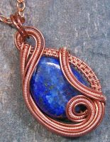 Lapis Lazuli and Copper Sculpted Coil Pendant by HeatherJordanJewelry