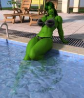She Hulk Poolside by willdial
