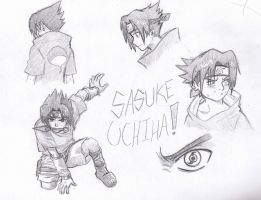 Sasuke Uchiha sketches by ChixWarners