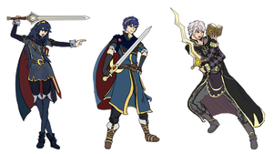 Fire Emblem Doodles: Marth, Lucina, and Robin by ShadowVenom718