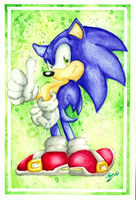.Water colour Practice: Sonic. by Blue-Sonikku