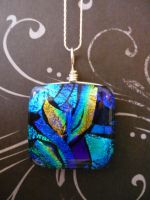 Blue Aurora Fused Glass Pendan by FusedElegance