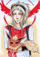 Ginsei and his Flareon by Khallandra