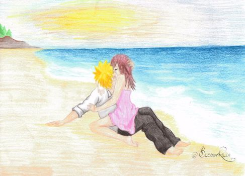Xover Naruto and Kairi -  Kisses on the beach by BloodyRiley