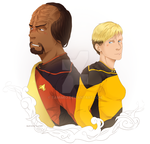 Worf and Tasha by tamimio