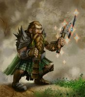 Ginger Dwarf, with clover, rainbow enchanted axe by MichaelJaecks