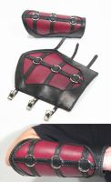 Red and Black Leather Bracers by swanboy