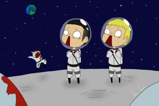 On the moon by chibi-raiden