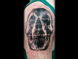 Dark Skull with Roses-WIP done by Sean Ambrose at by seanspoison
