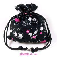 Cutie Skulls Printed Cotton Satin Lined Dice Bag by Pasiphilo