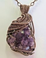Amethyst Druzy Wire-Wrapped Pendant in Copper by HeatherJordanJewelry
