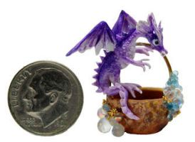 FANTASY BABY DRAGON JEWELLED FAIRY BASKET by WEE-OOAK-MINIATURES