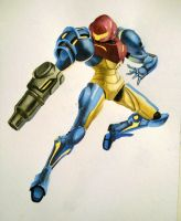 Samus Aran Watercolor by Alarmaes