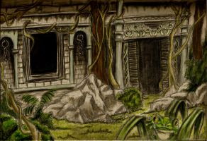 Jungle Ruins Colored by Kiera-moonlight-eyes