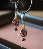 Garnet with Mix Metal Earrings by CrysallisCreations