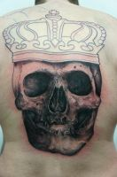skull with crown backpiece in progress by graynd