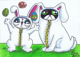 Funny cat easter dress up ACEO by KingZoidLord