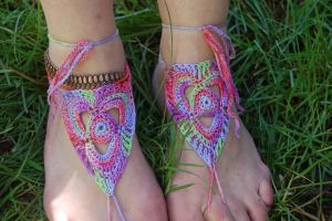 Tie dye Barefoot Sandals by ivithja