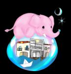 Pink elephant and bubbles by Flammchen