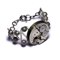 Steampunk Bracelet Silver by CatherinetteRings