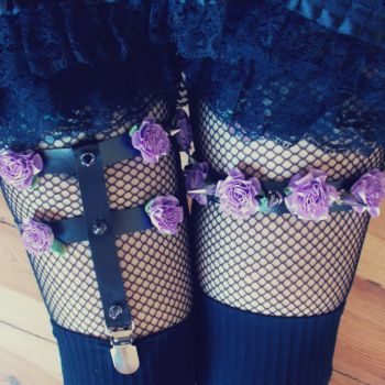 Purple Roses Garters by KinkyKittyShop