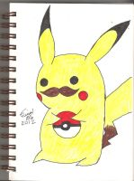 Pikachu with a mustache by tinani81600