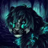 Lion in cave by Sharkosaur