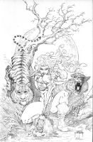Red Sonja and Bengal Tigers by JMan-3H