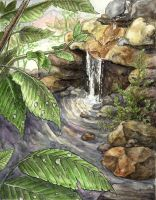 Illustration - Waterfall by Redpyre