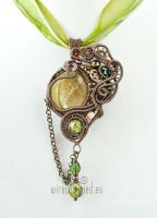 Olive green steampunk pendant by ukapala
