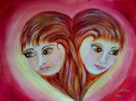 Heart and faces painting by Foxycrafts-and-Arts