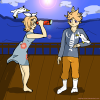 Link and Aryll Kagamine by razzberridust