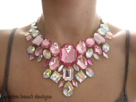 Light Pink and Clear AB Rhinestone Statement Piece by Natalie526