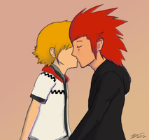 Akuroku: Kiss by SolarCookie