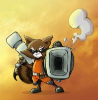 Rocket Raccoon Color by Androsofthewoods
