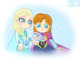 Elsa and Anna in a magic world of love by Lunna-World