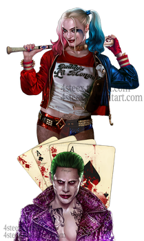 Commission: Joker and Harley Quinn tattoo design by 4steex
